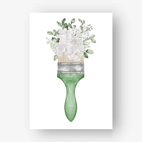 Flower paint brush gardenia white flower watercolor illustration