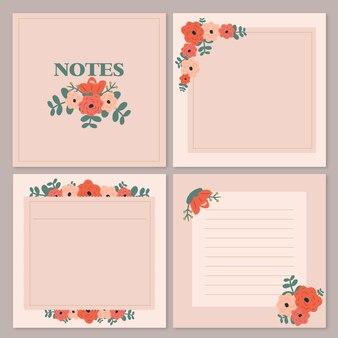 Flower paper blank notes set