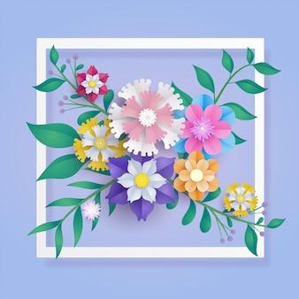 Flower paper cut composition