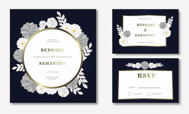 Flower papercut wedding invitation card