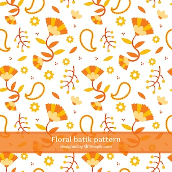 Flower pattern and abstract orange shapes