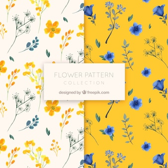 Flower pattern collection in watercolor style