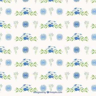 Flower pattern and hand drawn leaves