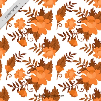 Flower pattern and leaves in batik style