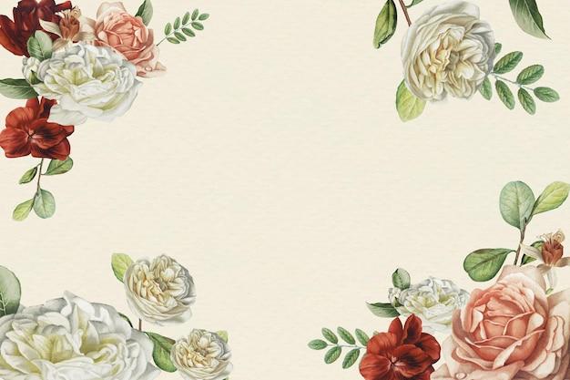 ベージュの背景ベクトルテンプレートの花のパターン
