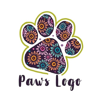 Flower Pattern Paws Logo