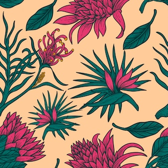 Flower pattern tropical leaves hand draw vintage design