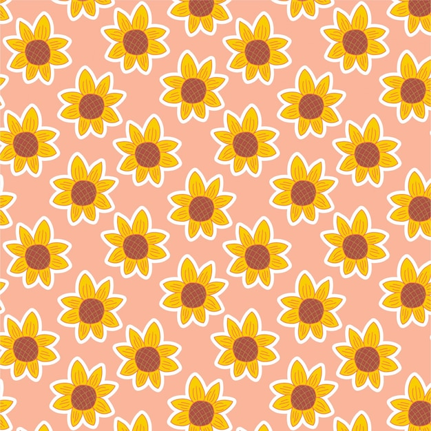 Flower pattern with hand drawn sunflower