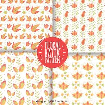 Flower patterns hand drawn in batik style