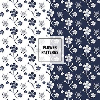 Motivi floreali in bianco e blu