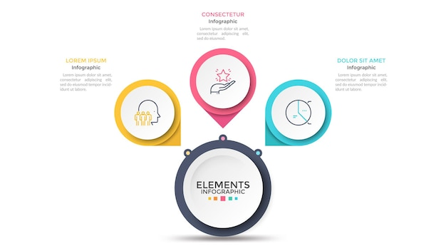 Flower petal diagram with 3 paper white circles connected to main round element. concept of menu with three options to choose. modern infographic design template. vector illustration for presentation.