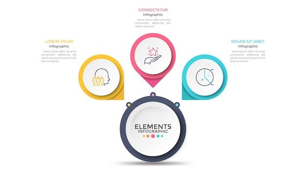 Схема лепестков цветка с 3 бумажными белыми кругами, соединенными с основным круглым элементом. концепция меню с тремя вариантами на выбор. современный инфографический шаблон дизайна. векторная иллюстрация для презентации.