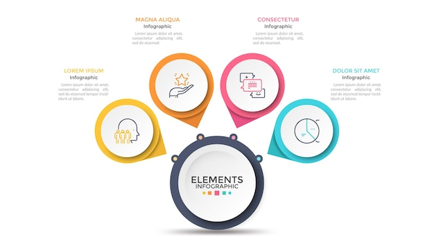Flower petal diagram with 4 paper white circles connected to main round element. concept of menu with four options to choose. modern infographic design template. vector illustration for presentation.