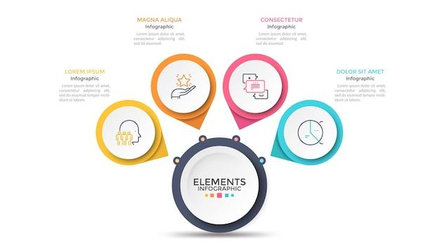Схема лепестков цветка с 4 бумажными белыми кругами, соединенными с основным круглым элементом. концепция меню с четырьмя вариантами на выбор. современный инфографический шаблон дизайна. векторная иллюстрация для презентации.
