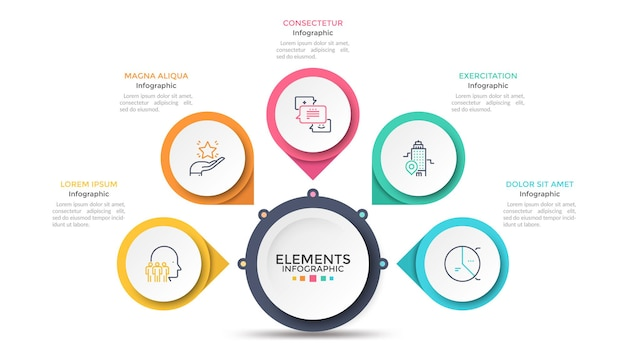 Flower petal diagram with 5 paper white circles connected to main round element. concept of menu with five options to choose. modern infographic design template. vector illustration for presentation.
