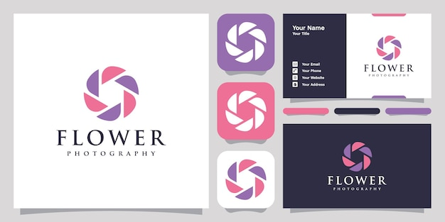 Flower photography logo icon symbol template logo and business card