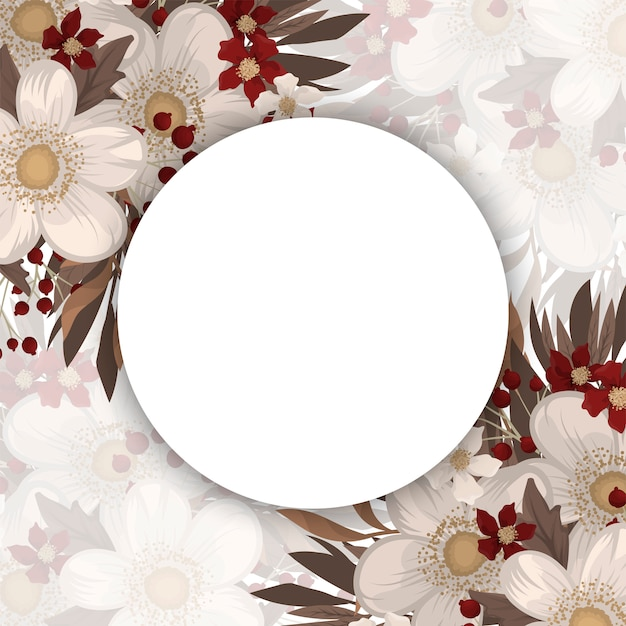 Flower picture frame - white circle frame with red flowers