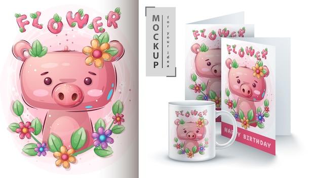 Цветочная свинья для постера и мерчендайзинга