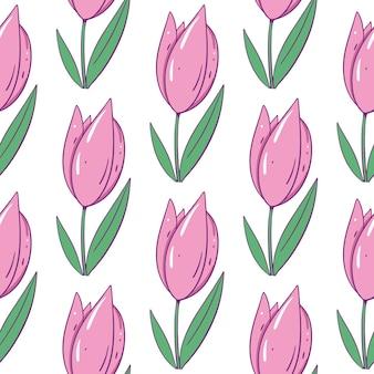 꽃 핑크 튤립. 원활한 패턴입니다. 만화 스타일. 외딴.