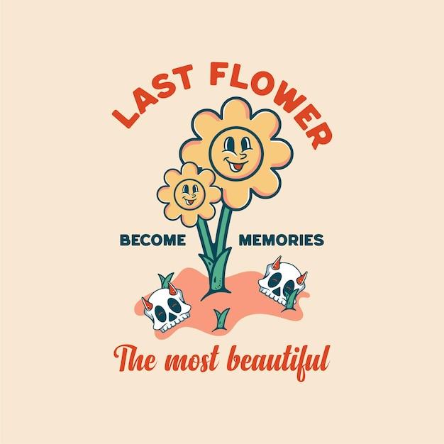 T-셔츠에 대한 꽃 식물 해골 할로윈 캐릭터 빈티지 스타일