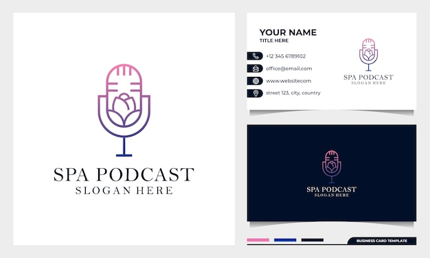Flower podcast mic logo design with business card template