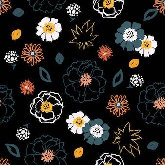 Flower pop art  brush  seamless pattern vector