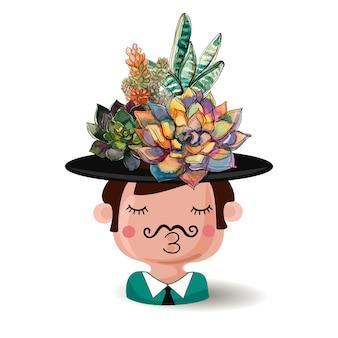 Цветочный горшок мальчик в шляпе с букетом суккулентов. Premium векторы