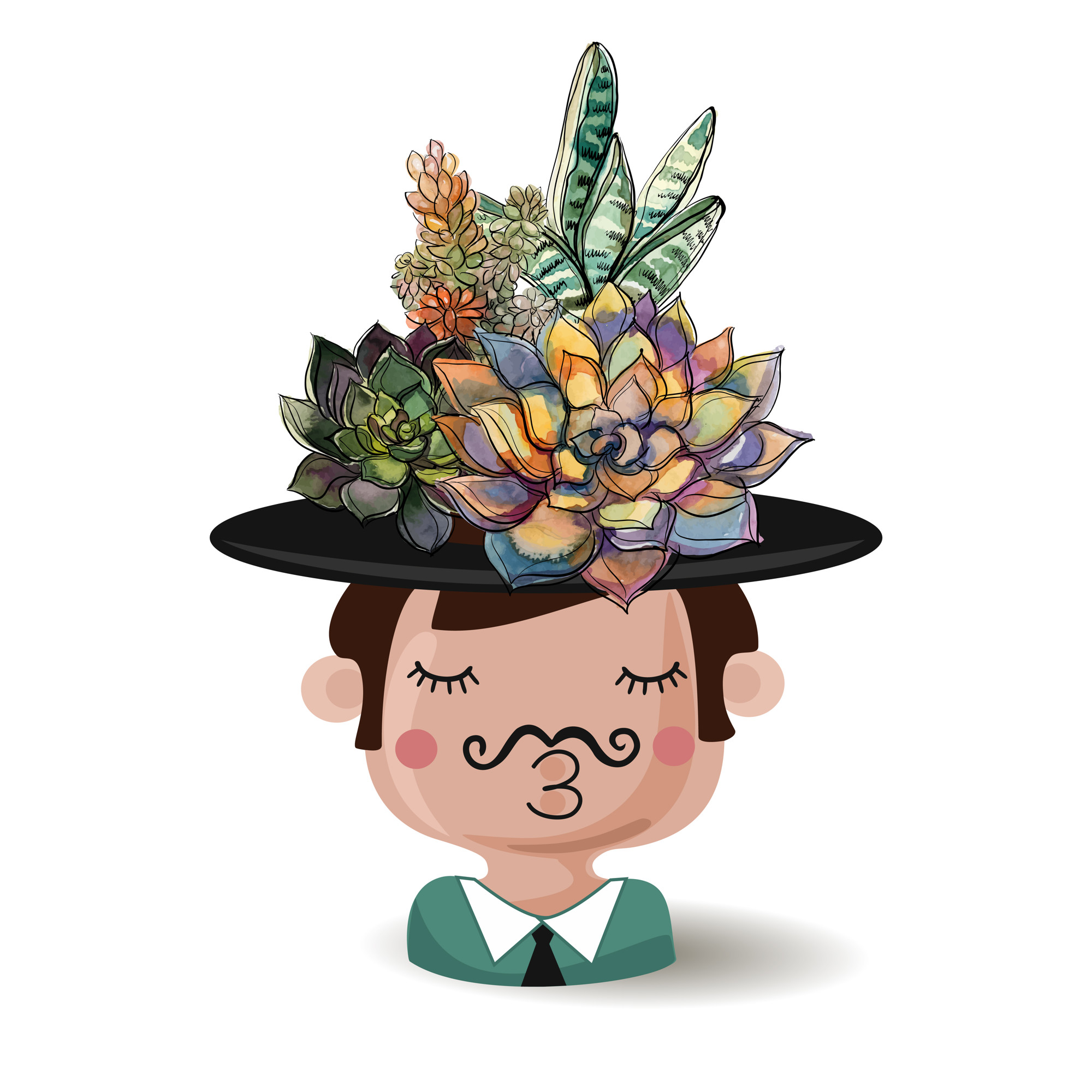 Flower pot boy in a hat with a bouquet of succulents.