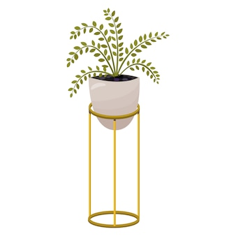 Flower in a pot. a flower on a stand for home or office interior decoration. illustration of cartoon flat style isolated.