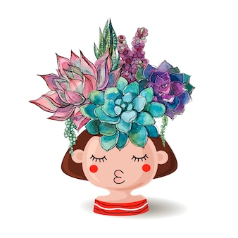 Flower pot girl with a bouquet of succulents.