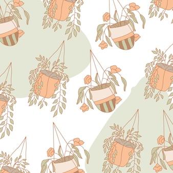 꽃 냄비 패턴 배경입니다. 빈티지 스타일.