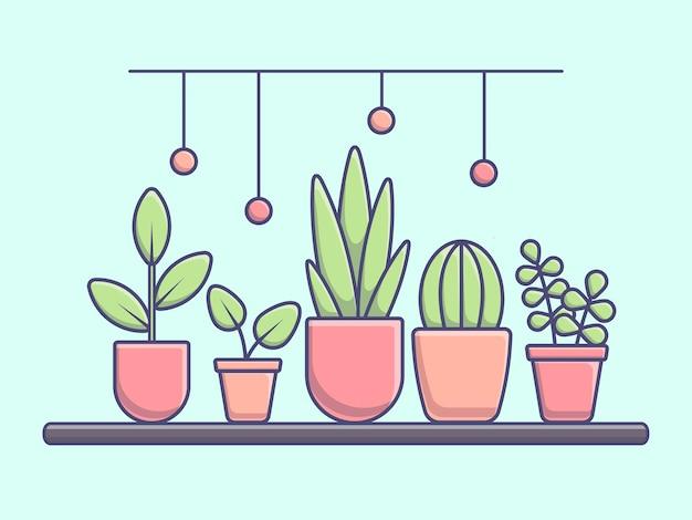 다른 식물과 잎을 가진 현대적인 스타일의 창턱에 화분