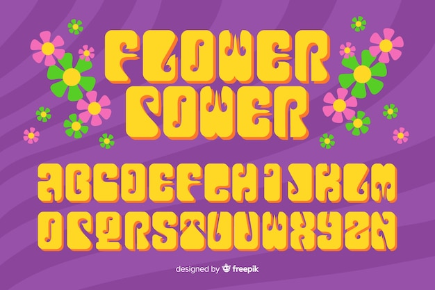 Flower power alphabet in 60's style