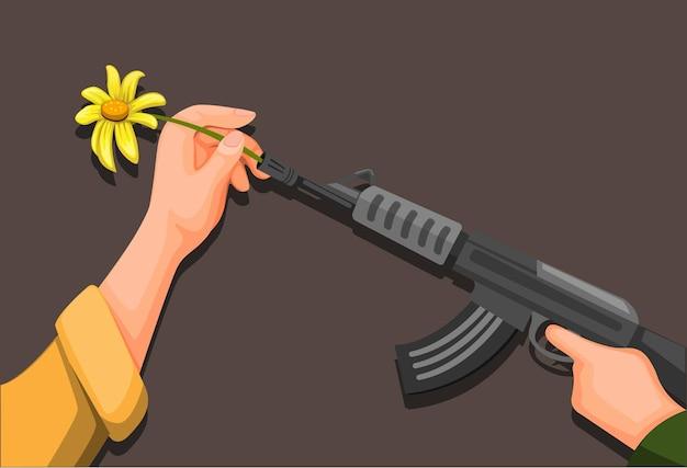 フラワーパワー、手は平和のための兵士のライフル銃のシンボルに花を置き、漫画イラストベクトルで戦争の概念を停止します