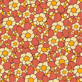 따뜻한 색조의 플라워 파워 패턴