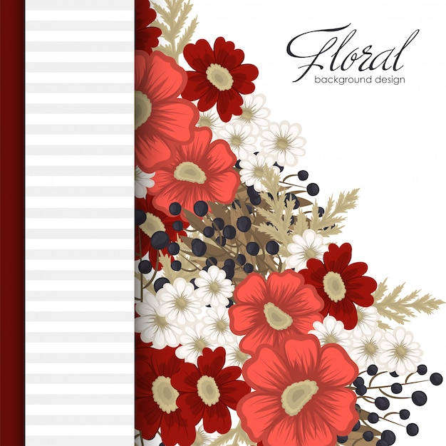 Flower  red floral border