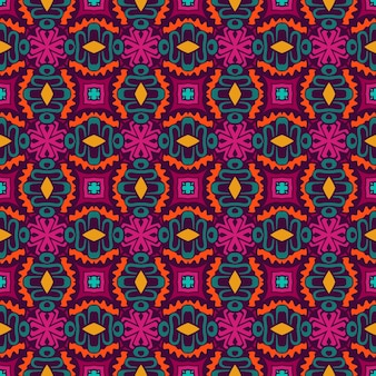 Цветочные ретро-арт этнические бесшовные дизайн плитки. праздничный красочный плиточный узор.
