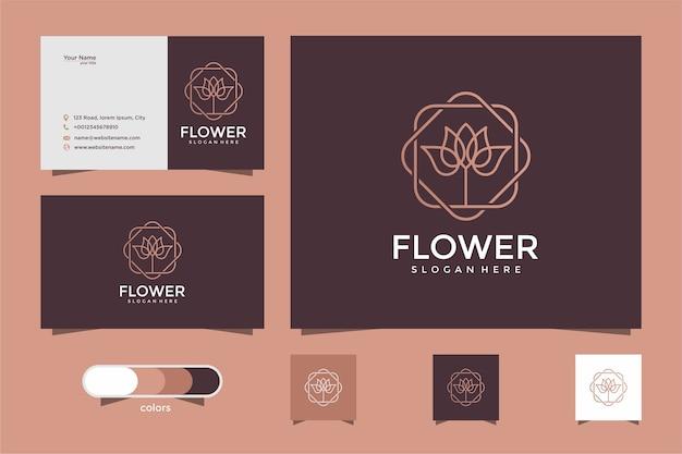 フラワーローズラインアートスタイル。高級美容院、ファッション、化粧品、ヨガ、スパ製品。ロゴデザインと名刺