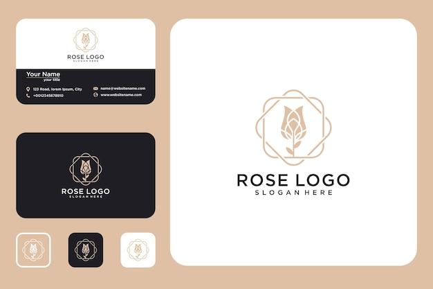 Цветок роза дизайн логотипа и визитная карточка
