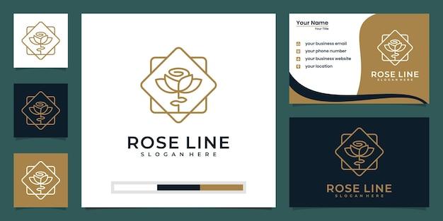 Цветочная роза роскошный дизайн логотипа и визитной карточки