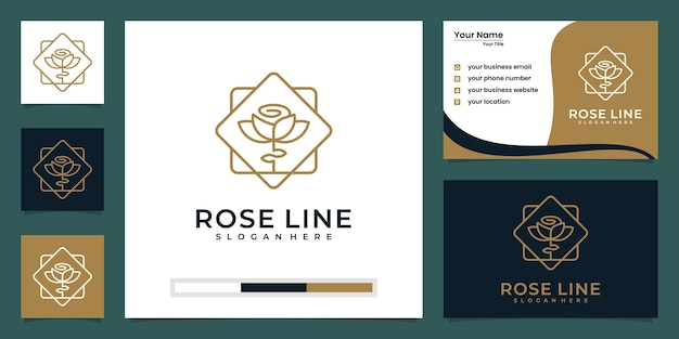 Flower rose luxury logo design and business card