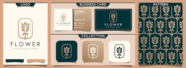 Flower rose luxury logo with pattern and business card