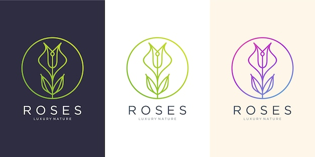Flower roses line art style.luxury circle, beauty salon, fashion, skincare, cosmetic, nature and spa products.logo design template.