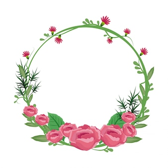 Flower round frame wreath roses flowery