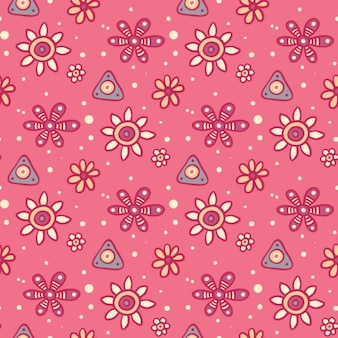 Flower's pattern in hand drawn style Free Vector