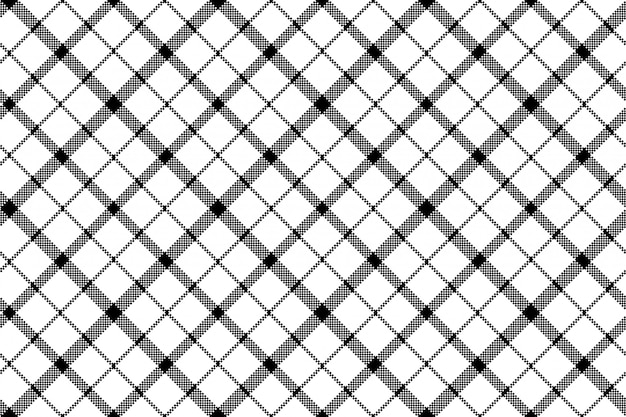 Flower of scotland tartan black white pixel seamless pattern