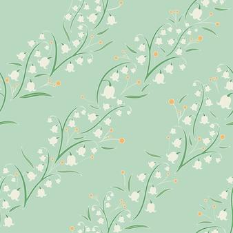 꽃 원활한 대각선 패턴 꽃 모티브 그린 톤