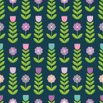 Flower seamless pattern on the dark background.
