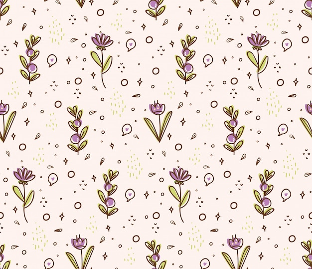 Flower seamless pattern in doodle style illustration
