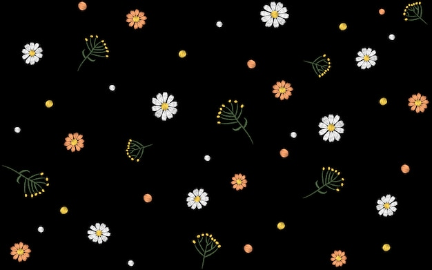 Flower seamless pattern. field herbs daisy textile print decoration